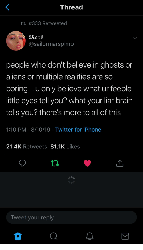 Dont Believe: <  Thread  ti #333 Retweeted  Mars  @sailormarspimp  people who don't believe in ghosts or  aliens or multiple realities are so  boring... u only believe what ur feeble  little eyes tell you? what your liar brain  tells you? there's more to all of this  1:10 PM 8/10/19 Twitter for iPhone  21.4K Retweets 81.1K Likes  ti  Tweet your reply  Σ