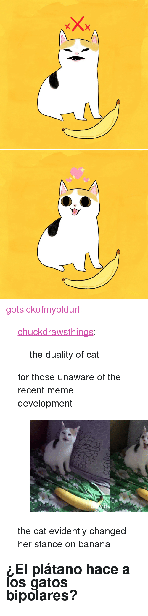 "evidently: <p><a href=""http://gotsickofmyoldurl.tumblr.com/post/170800701101/chuckdrawsthings-the-duality-of-cat-for-those"" class=""tumblr_blog"">gotsickofmyoldurl</a>:</p><blockquote> <p><a href=""http://chuckdrawsthings.tumblr.com/post/170693393843/the-duality-of-cat"" class=""tumblr_blog"">chuckdrawsthings</a>:</p> <blockquote><p>the duality of cat</p></blockquote> <p>for those unaware of the recent meme development</p> <figure class=""tmblr-full"" data-orig-height=""405"" data-orig-width=""706""><img src=""https://78.media.tumblr.com/c00cff490bb25f6a54b67ddab6f53dd2/tumblr_inline_p41q1gu4rm1qi1nux_540.png"" data-orig-height=""405"" data-orig-width=""706""/></figure><p>the cat evidently changed her stance on banana</p> </blockquote> <h2>¿El plátano hace a los gatos bipolares?</h2>"
