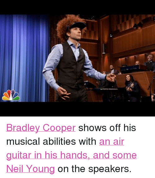 "Target, youtube.com, and Bradley Cooper: <p><a href=""http://www.nbc.com/the-tonight-show/filters/guests/691"" target=""_blank"">Bradley Cooper</a> shows off his musical abilities with <a href=""https://www.youtube.com/watch?v=R1dW8M4EqYY&amp;feature=youtu.be"" target=""_blank"">an air guitar in his hands, and some Neil Young</a> on the speakers.</p>"