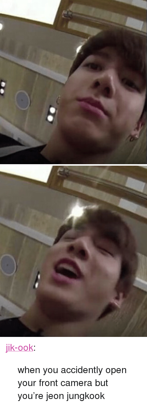 """Jeon Jungkook: <p><a href=""""https://jik-ook.tumblr.com/post/161447486077/when-you-accidently-open-your-front-camera-but"""" class=""""tumblr_blog"""">jik-ook</a>:</p><blockquote><p>when you accidently open your front camera but you're jeon jungkook</p></blockquote>"""