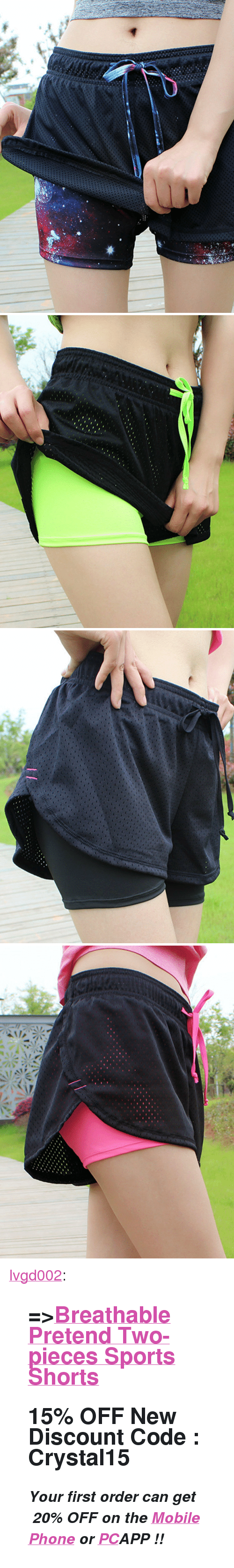 """First Order: <p><a href=""""https://lvgd002.tumblr.com/post/172305607752/breathable-pretend-two-pieces-sports-shorts-15"""" class=""""tumblr_blog"""">lvgd002</a>:</p><blockquote> <h2><b>=&gt;<a href=""""https://goo.gl/AKH6UN"""">Breathable Pretend Two-pieces Sports Shorts</a> <br/></b></h2> <h2> <b>15% OFF </b>New Discount Code : <b>Crystal15</b> </h2> <p><i><b><b><b>✧Your first order can get </b><b><i>20% OFF</i></b><b> on the </b><a href=""""https://goo.gl/D9rzDp""""><b>Mobile Phone</b></a><b> or </b><b><a href=""""https://goo.gl/ivq4H5"""">PC</a></b><b>APP !!</b></b></b></i></p> </blockquote>"""