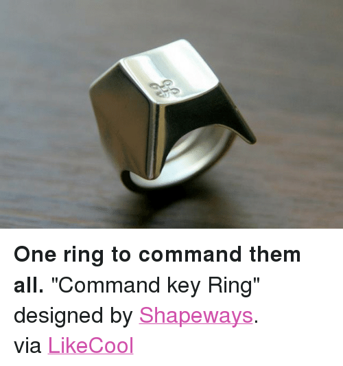 "Target, Http, and Strong: <p><strong>One ring to command them all.</strong> &quot;Command key Ring&quot; designed by <a target=""_blank"" href=""http://www.shapeways.com/model/265904/command_key_ring.html?gid=sg17992"">Shapeways</a>.<br/>via <a target=""_blank"" href=""http://www.likecool.com/Command_key_Ring--Design--Gear.html?utm_source=feedburner&amp;utm_medium=feed&amp;utm_campaign=Feed%3A+Likecool+%28Likecool%2C+coolest+gadget+magazine%29"">LikeCool</a></p>"