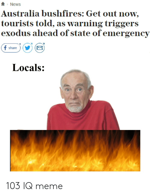 News Australia: *> News  Australia bushfires: Get out now,  tourists told, as warning triggers  exodus ahead of state of emergency  f share  Locals: 103 IQ meme