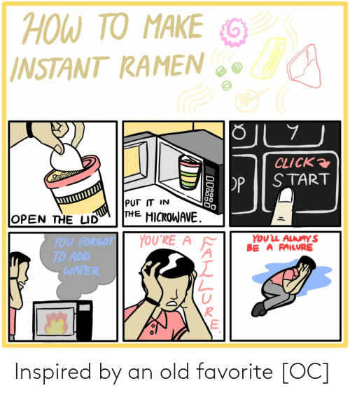 Click: ΤΟ ΑΚΕ  TO MAKE  HOW TO  G  INSTANT RAMEN  CLICK  START  PP  PUT IT IN  THE MICROWAVE.  OPEN THE LID  YOUL ALWAY S  BE A FAILURE  YOU'RE A  YOU FORGOT  TO ADD  WATER  ODSS8 Inspired by an old favorite [OC]