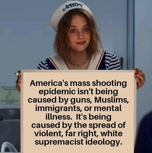 Guns, White, and Violent: Ано  America's mass shooting  epidemic isn't being  caused by guns, Muslims,  immigrants, or mental  illness. It's being  caused by the spread of  violent, far right, white  supremacist ideology.