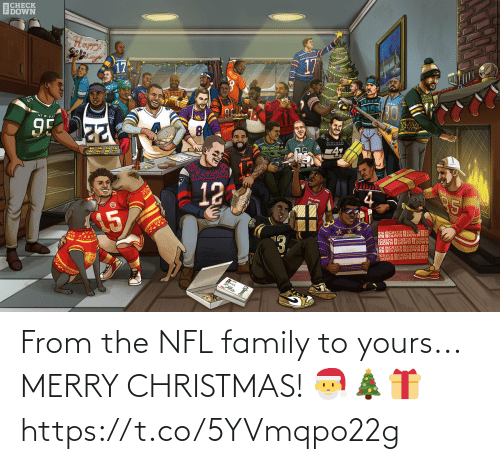 Merry Christmas: ВСНЕСK  EDOWN  17  17  95  -4  12  ১১  SK ISOWN OSOWNOS  SECK ECHECK  DOWN  CHECK  OSOWN OSEESKOS  НЕСК ПСHЕС  CHECKEDOWN EDOW  DOWN From the NFL family to yours...  MERRY CHRISTMAS! 🎅🎄🎁 https://t.co/5YVmqpo22g