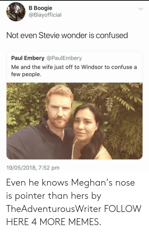 Windsor: В Воogie  @Blayofficial  Not even Stevie wonder is confused  Paul Embery @PaulEmbery  Me and the wife just off to Windsor to confuse a  few people.  19/05/2018, 7:52 pm Even he knows Meghan's nose is pointer than hers by TheAdventurousWriter FOLLOW HERE 4 MORE MEMES.