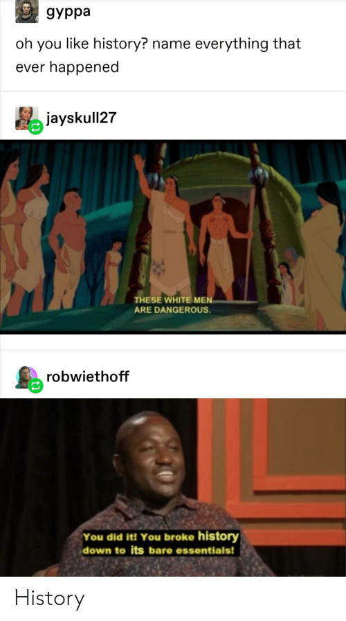 Tumblr, History, and White: дурра  oh you like history? name everything that  ever happened  jayskull27  THESE WHITE MEN  ARE DANGEROUS.  robwiethoff  You did it! You broke history  down to its bare essentials! History