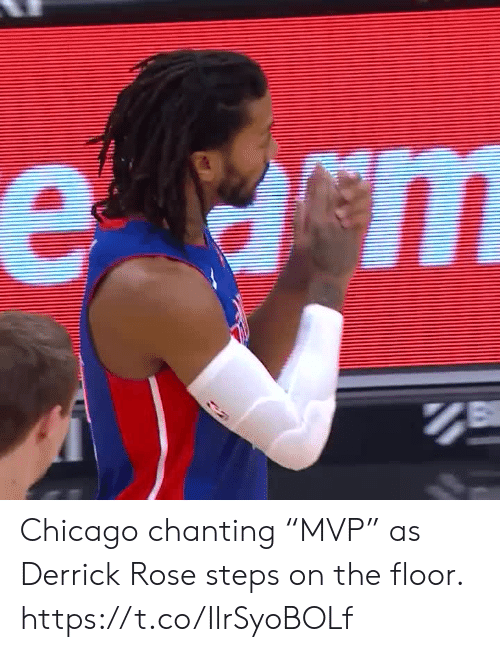 "on the floor: е ст Chicago chanting ""MVP"" as Derrick Rose steps on the floor.  https://t.co/IlrSyoBOLf"