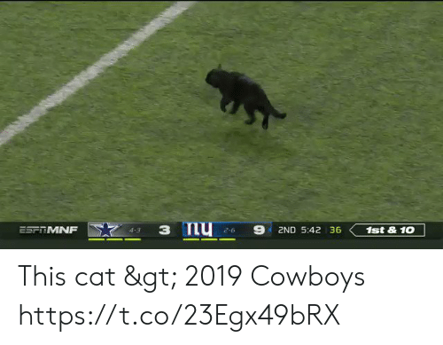 Dallas Cowboys, Nfl, and Cat: з Пу  ESFTMNF  2ND 5:42 36  1st&10  4-3  2-6 This cat > 2019 Cowboys  https://t.co/23Egx49bRX