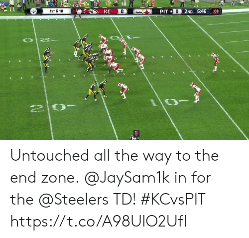 Memes, Steelers, and All The: КС  1ST & 10  0  PIT 0  2ND 6:46  :08  Steelers  OT  1 Untouched all the way to the end zone.  @JaySam1k in for the @Steelers TD! #KCvsPIT https://t.co/A98UIO2UfI
