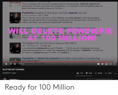"""Permanently Delete: прabe  This is consistent with his previous statement that he will permanently delete his channel after  reaching the 50-million-s ubsc riber mark. Nonetheless, it is important to note that Kjellberg does not  plan to quit being a content produceer on YouTube ...  PewDiePie threatens to shut down YouTube channel over row  Evening Standard - Dec 7, 2016  The 27-year-old, whose real name is Felix Kjellberg, set up his channel in 2010 before quitting  college one year later to focus on bec oming a professional YouTube pers onality. He now has 49.7  million subscribers. was named the highest paid YouTube star...  DIEPIE  OCLIONI  PewDiePie Is Deleting Hie ouTube Chanral At 50 Million Subscribers  Pe strian e 20 5  aly p  against the platfm, sayirg thet he will delet his hennal whee it hit a milastoe of 50 million  subscrit In s mos. ce vep sted  WI  K, lb J  it M  Pie the  knc n as  la  Jor c  The Biggest Star on YouTube Is Going to War With It  New York Magazine- 15 hours ago  Is he joking about deleting his account? Probably. ... The 20 seconds of Kjellberg's ten-minute  video were excerpted by U.K. outlet The Independent with the headline: """"PewDiePie: YouTube may  be 'killing' my channel because I'm white, so l'll delete it...  PewDiePie To Delete His Channel at 50 Million Subscribers; Currently Has  49.5 Subscribers  1:41/1:43tars News- Dec 4, 2016  Hо  Е3  СС  telaim but DowDioDIA.  nt or a La  ut to doloto bie A  rara aublieita  DELETING MY CHANNEL  35,599,471 views  E+ SAVE  1.7M  262K  SHARE  РewDiePieе Ready for 100 Million"""