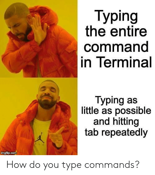 typing: Тyping  the entire  command  in Terminal  Typing as  little as possible  and hitting  tab repeatedly  imgflip.com How do you type commands?