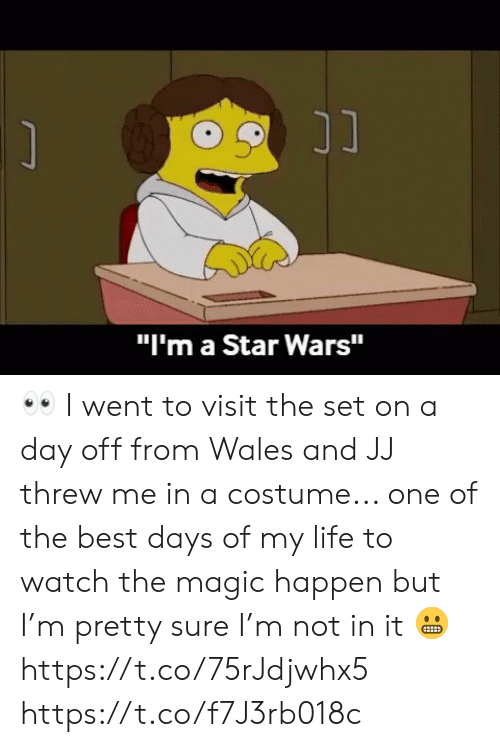 "Threw: ונ  ""I'm a Star Wars"" 👀 I went to visit the set on a day off from Wales and JJ threw me in a costume... one of the best days of my life to watch the magic happen but I'm pretty sure I'm not in it 😬 https://t.co/75rJdjwhx5 https://t.co/f7J3rb018c"