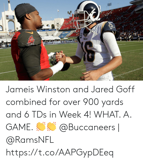 Jameis Winston, Memes, and Game: का Jameis Winston and Jared Goff combined for over 900 yards and 6 TDs in Week 4!   WHAT. A. GAME. ??  @Buccaneers | @RamsNFL https://t.co/AAPGypDEeq