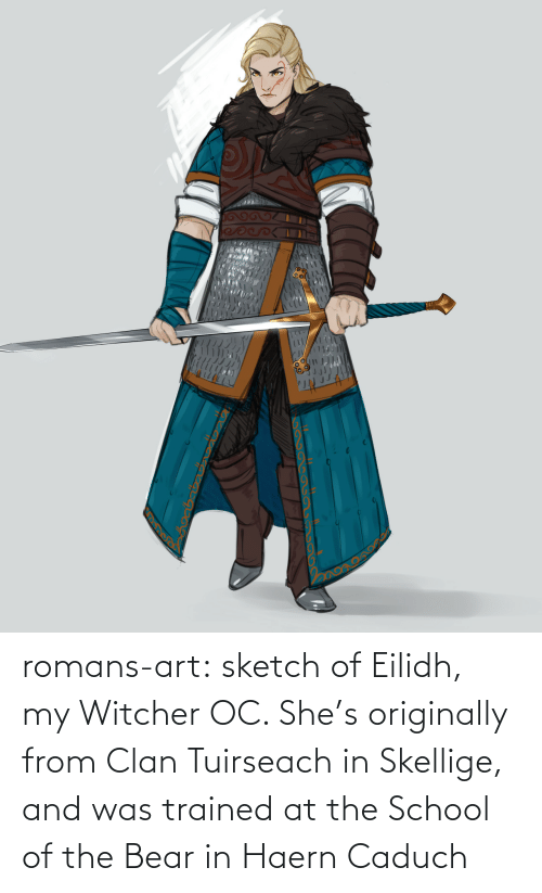 The School: గ  ు romans-art:    sketch of Eilidh, my Witcher OC. She's originally from Clan Tuirseach in Skellige, and was trained at the School of the Bear in Haern Caduch