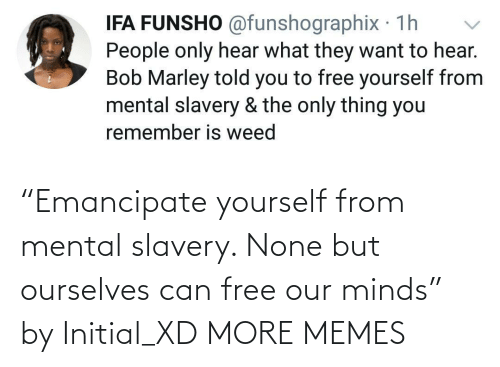 """none: """"Emancipate yourself from mental slavery. None but ourselves can free our minds"""" by Initial_XD MORE MEMES"""