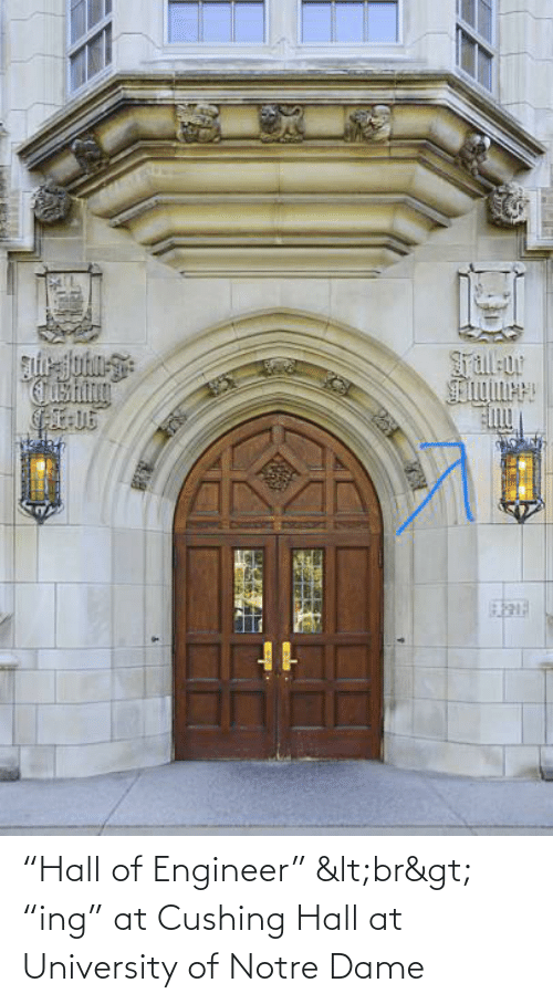 "university: ""Hall of Engineer"" <br> ""ing"" at Cushing Hall at University of Notre Dame"