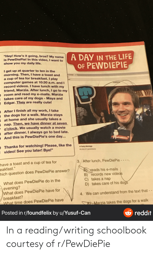 """Cute, Dogs, and Funny: """"Hey! How's it going, bros? My name  is PewDiePie! In this video, I want to  show you my daily life.  A DAY IN THE LIFE  OF PEWDIEPIE  I get up at quarter to ten in the  morning. Then, I have a toast and  a cup of tea for breakfast. I play  computer games at 10:30 a.m. and I  record videos. I have lunch with my  friend, Marzia. After lunch, I go to my  room and read my e-mails. Marzia  takes care of my dogs - Maya and  Edgar. They are really cute!  PERDIEP  8 After I finish all my work, I take  the dogs for a walk. Marzia stays  5 at home and she usually takes a  s nap. Then, we have dinner at seven  o'clock. We usually watch a movie  3 after dinner. I always go to bed late.  And this is PewDiePie's one day...  wEsaPEA  O Thanks for watching! Please, like the  