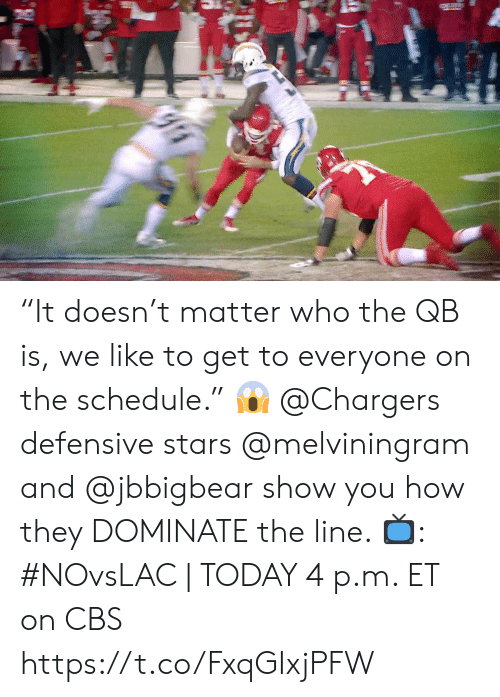 """Defensive: """"It doesn't matter who the QB is, we like to get to everyone on the schedule."""" 😱  @Chargers defensive stars @melviningram and @jbbigbear show you how they DOMINATE the line.   📺: #NOvsLAC 