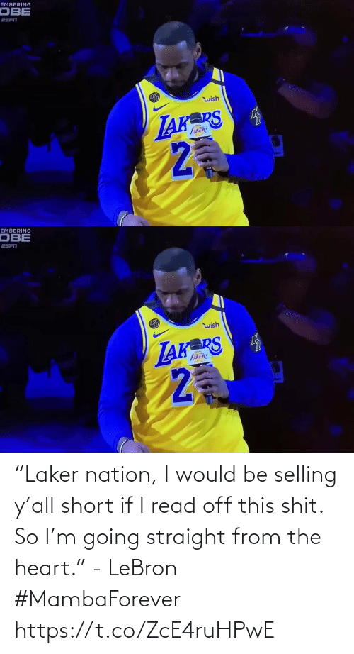 "Lebron: ""Laker nation, I would be selling y'all short if I read off this shit. So I'm going straight from the heart."" - LeBron #MambaForever    https://t.co/ZcE4ruHPwE"
