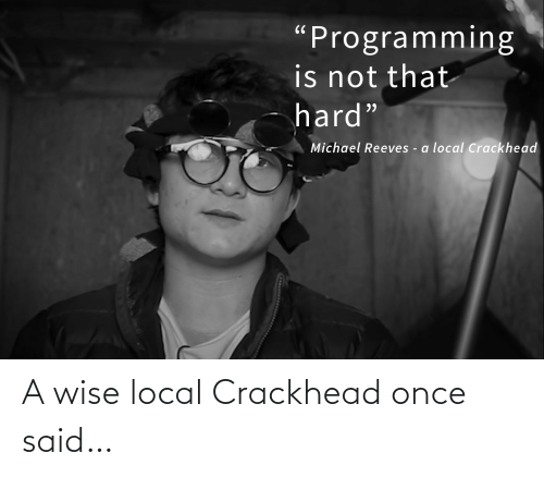 "Michael: ""Programming  is not that  hard""  Michael Reeves - a local Crackhead A wise local Crackhead once said…"