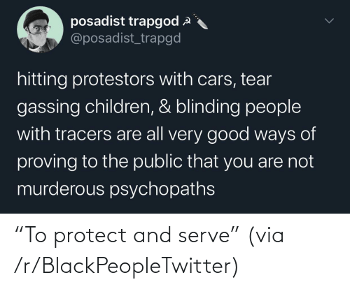 "Protect: ""To protect and serve"" (via /r/BlackPeopleTwitter)"