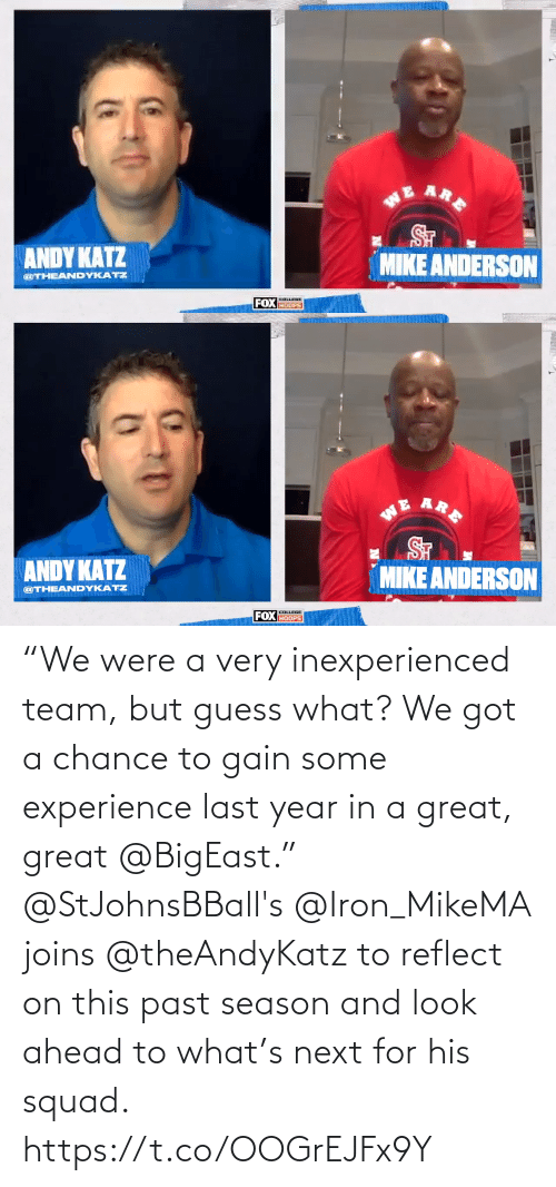 """Experience: """"We were a very inexperienced team, but guess what? We got a chance to gain some experience last year in a great, great @BigEast.""""  @StJohnsBBall's @Iron_MikeMA joins @theAndyKatz to reflect on this past season and look ahead to what's next for his squad. https://t.co/OOGrEJFx9Y"""
