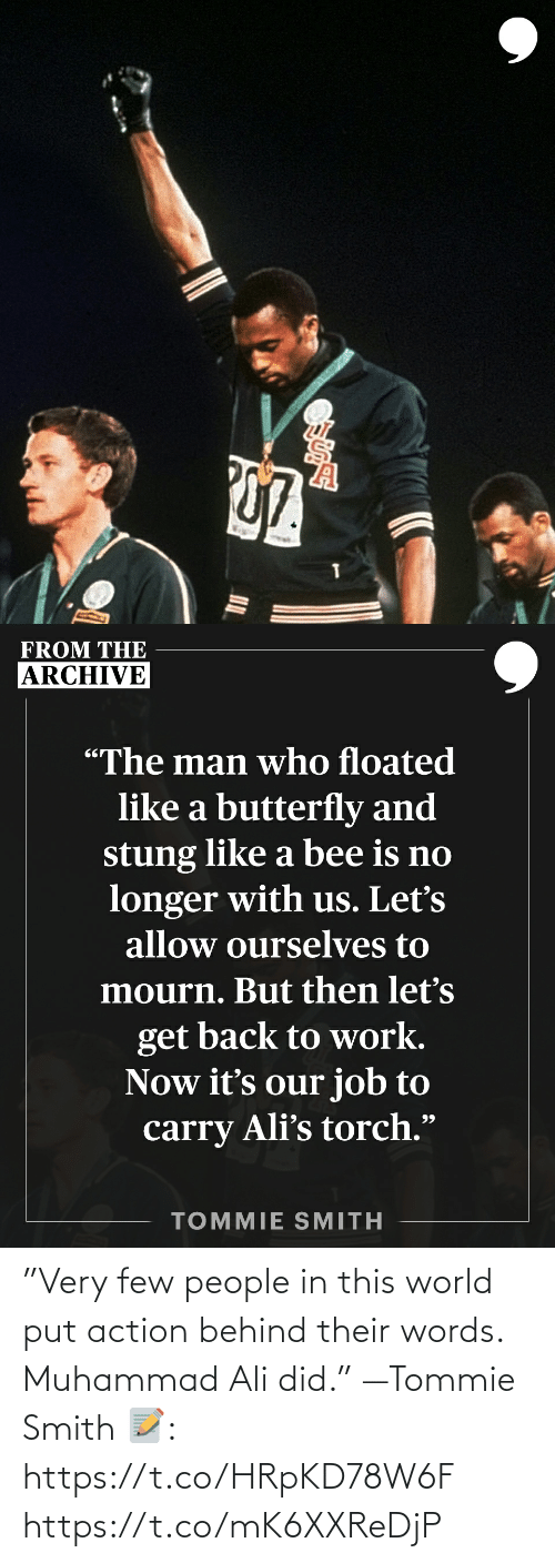 """Ali: """"Very few people in this world put action behind their words. Muhammad Ali did."""" —Tommie Smith   📝: https://t.co/HRpKD78W6F https://t.co/mK6XXReDjP"""