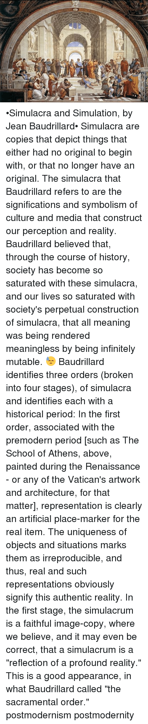 jean baudrillard essay simulacra and simulations Simulacra and simulation essay (mistitled simulacra and simulations) the simulacra to which baudrillard refers are the signs of culture and.