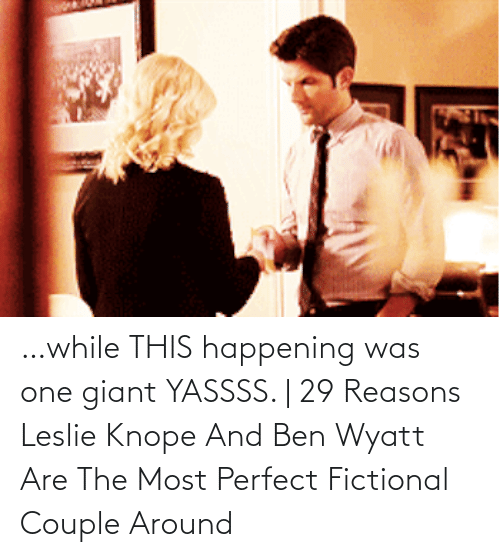 Leslie: …while THIS happening was one giant YASSSS. | 29 Reasons Leslie Knope And Ben Wyatt Are The Most Perfect Fictional Couple Around