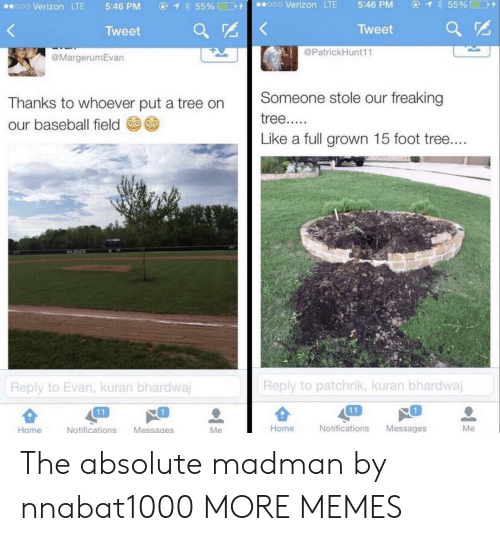 Evan: ④イ855% □D+  ooo Verizon LTE  5:46 PM  ⓖ  855%□コタ  ..ooo Verizon LTE  5:46 PM  Tweet  Tweet ar  @PatrickHunt11  @MargerumEvan  Thanks to whoever put a tree on Someone stole our freaking  our baseball field  Like a full grown 15 foot tree  Reply to patchrik, kuran bhardwaj  Reply to Evan, kuran bhardwa  1  1  Home  Notifications Messages  Me  Home  Notifications Messages The absolute madman by nnabat1000 MORE MEMES
