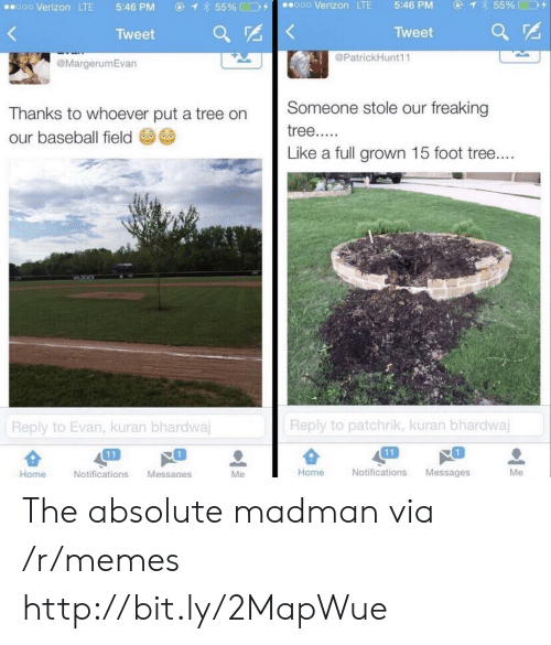 Evan: ④  855% □D+  ooo Verizon LTE  5:46 PM  ⓖ  855%□コタ  ..ooo Verizon LTE  5:46 PM  Tweet  Tweet ar  @PatrickHunt11  @MargerumEvan  Thanks to whoever put a tree on Someone stole our freaking  our baseball field  Like a full grown 15 foot tree  Reply to patchrik, kuran bhardwaj  Reply to Evan, kuran bhardwa  1  1  Home  Notifications Messages  Me  Home  Notifications Messages The absolute madman via /r/memes http://bit.ly/2MapWue