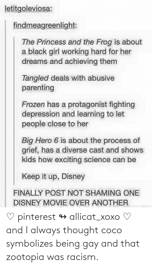 gay: ♡ pinterest ↬ allicat_xoxo ♡ and I always thought coco symbolizes being gay and that zootopia was racism.