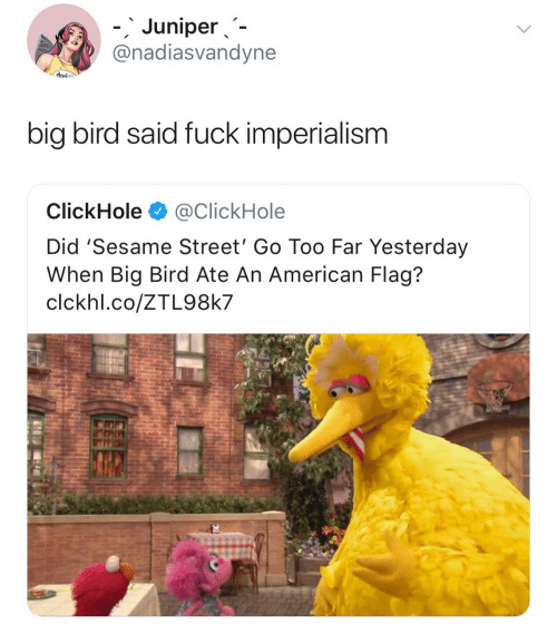 Clickhole: 、  '  -.Juniper、-  @nadiasvandyne  big bird said fuck imperialism  ClickHole@ClickHole  Did 'Sesame Street' Go Too Far Yesterday  When Big Bird Ate An American Flag?  clckhl.co/ZTL98k7
