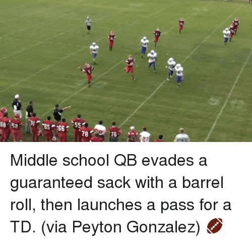 School, Sports, and Barrel Roll: 【2  SL  es-89  s  tb  coi Middle school QB evades a guaranteed sack with a barrel roll, then launches a pass for a TD. (via Peyton Gonzalez) 🏈