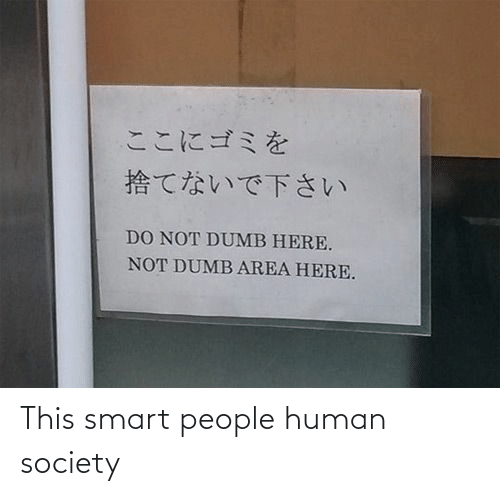 smart people: ここにゴミを  捨てないで下さい  DO NOT DUMB HERE.  NOT DUMB AREA HERE. This smart people human society