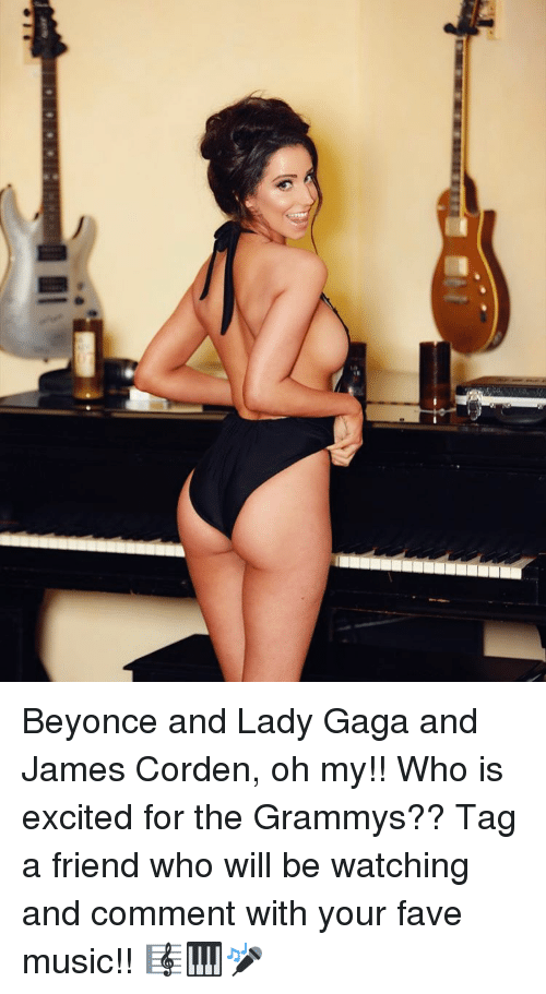 Excition: ノ Beyonce and Lady Gaga and James Corden, oh my!! Who is excited for the Grammys?? Tag a friend who will be watching and comment with your fave music!! 🎼🎹🎤