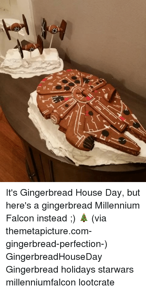 Themetapictures: 丁  Y;F It's Gingerbread House Day, but here's a gingerbread Millennium Falcon instead ;) 🎄 (via themetapicture.com-gingerbread-perfection-) GingerbreadHouseDay Gingerbread holidays starwars millenniumfalcon lootcrate
