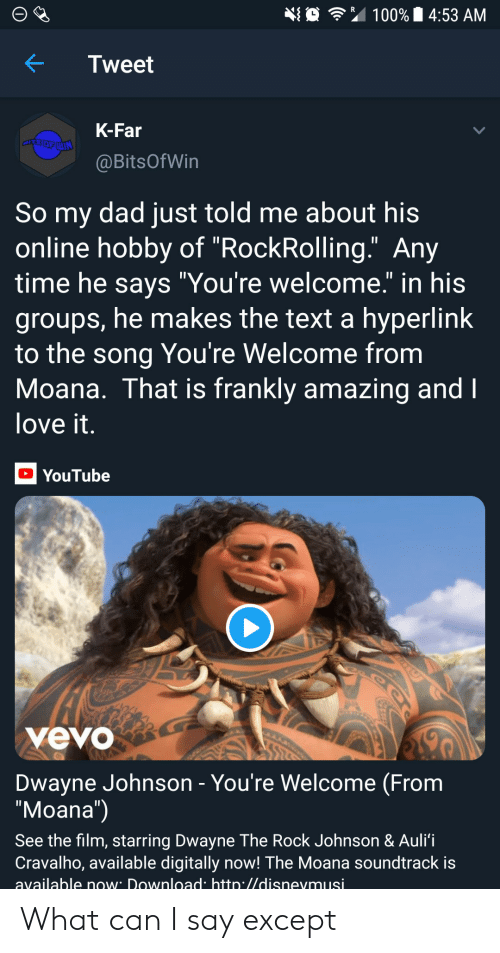 "what can i say: 埀令"" 100% 14:53 AM  KTweet  K-Far  @BitsOfWin  So my dad just told me about his  online hobby of ""RockRolling."" Any  time he savs ""You're welcome."" in his  groups, he makes the text a hyperlink  to the song You're Welcome from  Moana. That is frankly amazing and  love it  YouTube  yevo  Dwayne Johnson - You're Welcome (From  ""Moana"")  See the film, starring Dwayne The Rock Johnson & Auli'i  Cravalho, available digitally now! The Moana soundtrack is  available now Download htto.//disnevmusi What can I say except"