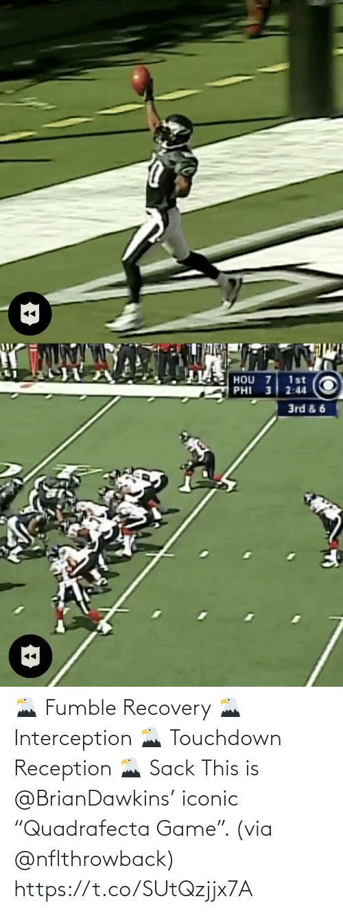 """recovery: 🦅 Fumble Recovery 🦅 Interception 🦅 Touchdown Reception 🦅 Sack  This is @BrianDawkins' iconic """"Quadrafecta Game"""". (via @nflthrowback) https://t.co/SUtQzjjx7A"""