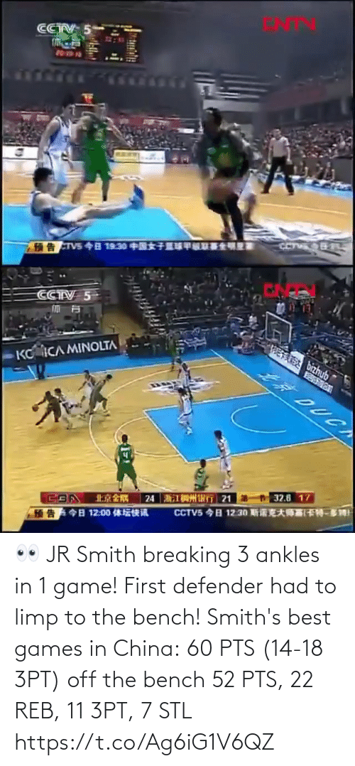 Games: 👀 JR Smith breaking 3 ankles in 1 game! First defender had to limp to the bench!   Smith's best games in China: 60 PTS (14-18 3PT) off the bench 52 PTS, 22 REB, 11 3PT, 7 STL https://t.co/Ag6iG1V6QZ