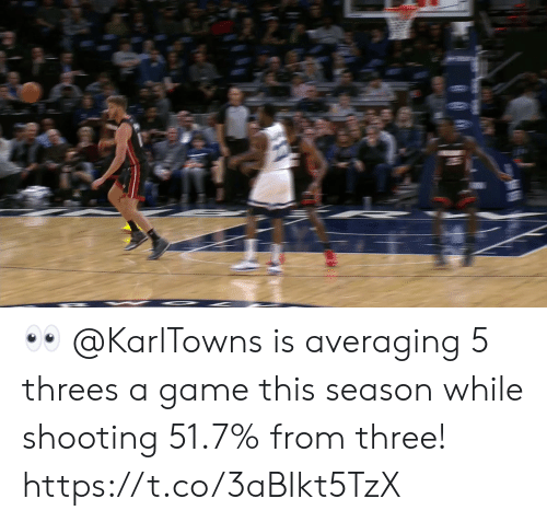 Memes, Game, and A Game: 👀 @KarlTowns is averaging 5 threes a game this season while shooting 51.7% from three!   https://t.co/3aBIkt5TzX