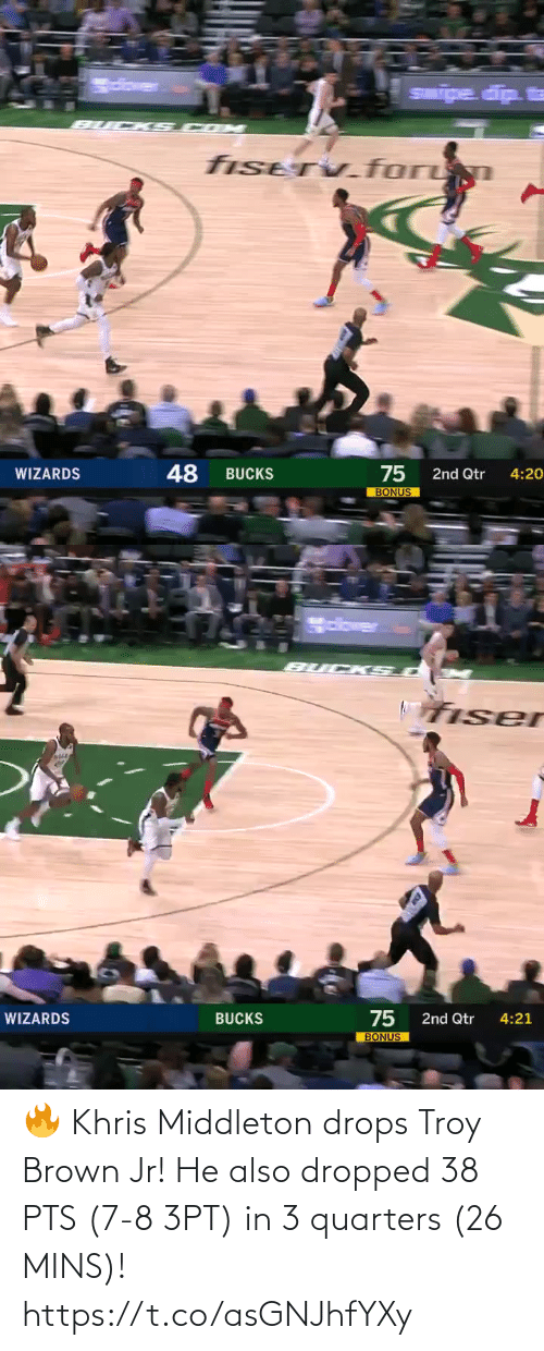 Mins: 🔥 Khris Middleton drops Troy Brown Jr!   He also dropped 38 PTS (7-8 3PT) in 3 quarters (26 MINS)!   https://t.co/asGNJhfYXy