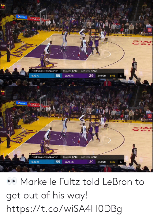 Out Of: 👀 Markelle Fultz told LeBron to get out of his way!  https://t.co/wiSA4H0DBg