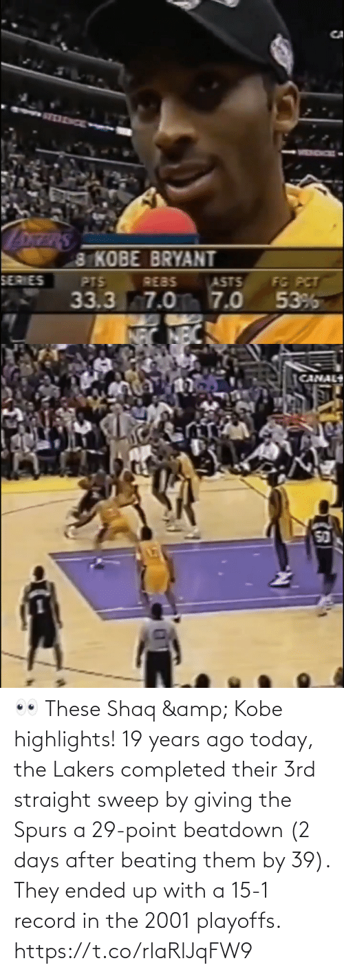 Spurs: 👀 These Shaq & Kobe highlights!   19 years ago today, the Lakers completed their 3rd straight sweep by giving the Spurs a 29-point beatdown (2 days after beating them by 39). They ended up with a 15-1 record in the 2001 playoffs. https://t.co/rlaRlJqFW9