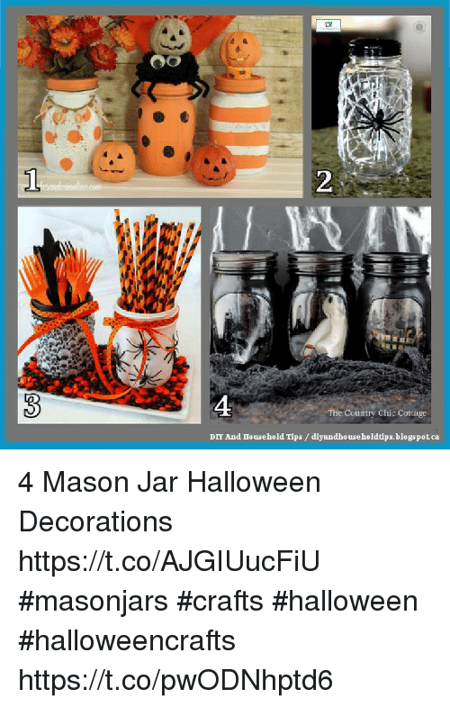 Jarreds: 0  2  4  The Country Chic Cottage  DIY And Household Tips /diyandho useholdtips.blogspot.ca 4 Mason Jar Halloween Decorations https://t.co/AJGIUucFiU #masonjars #crafts #halloween #halloweencrafts https://t.co/pwODNhptd6