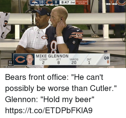 "Chicago Bears: 0  8:47 2nd  CHICAGO BEARS  BEARS  MIKE GLENNON  QB  COMP  2  ATT  8  YARDS  20  INT  1  (0  Q MarcusD2 Bears front office: ""He can't possibly be worse than Cutler.""  Glennon: ""Hold my beer"" https://t.co/ETDPbFKlA9"