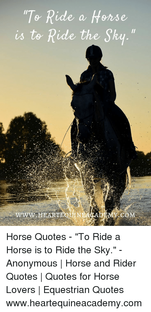 "Anonymous, Horse, and Quotes: 0  a frense  is to Ride the Sky.""  WWW.HEARTE  MY.COM Horse Quotes - ""To Ride a Horse is to Ride the Sky."" - Anonymous 