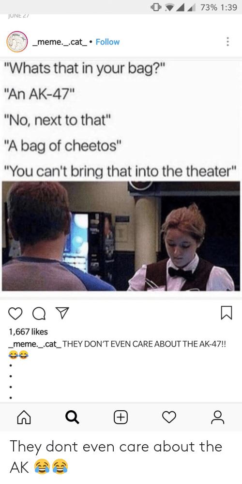 """Ak-47: 0 .A.I 73% 1:39  JUNE 27  meme._cat Follow  """"Whats that in your bag?""""  An AK-47""""  """"No, next to that""""  """"A bag of cheetos""""  """"You can't bring that into the theater""""  1,667 likes  _meme._.cat_ THEY DON'T EVEN CARE ABOUT THE AK-47!! They dont even care about the AK 😂😂"""